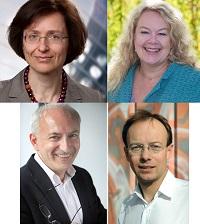Im Uhrzeigersinn: Prof. Dr. Gabriele Bolte (Geschäftsführende Direktorin), Prof. Dr. Karin Wolf-Ostermann (Direktoriumsmitglied), Prof. Dr. Ansgar Gerhardus (Direktoriumsmitglied) sowie Prof. Dr. Stefan Görres (ehemaliges Direktoriumsmitglied)